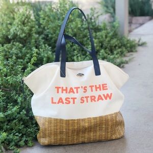 Kate Spade That's The Last Straw Canvas Tote Bag